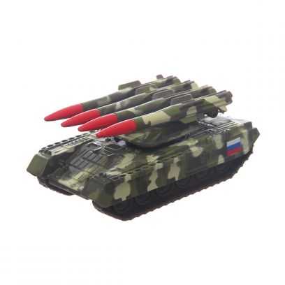 Машина Танк с ракетной установкой металл., инерц. 12см.