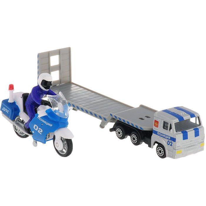Набор Камаз перевозчик с мотоциклом металл