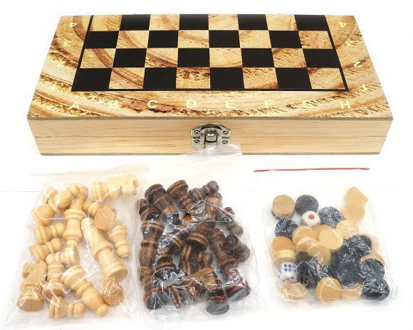 Настольная 3в1 Шахматы, шашки, нарды, поле 24х24см