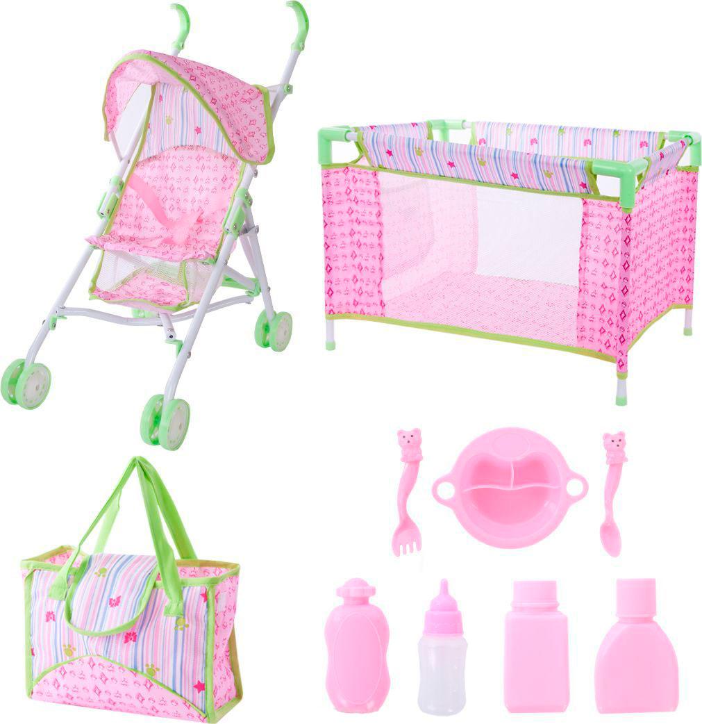 АКЦИЯ-20 Игр Набор для куклы Deluxe: коляска, кроватка, сумка с аксес-ми.