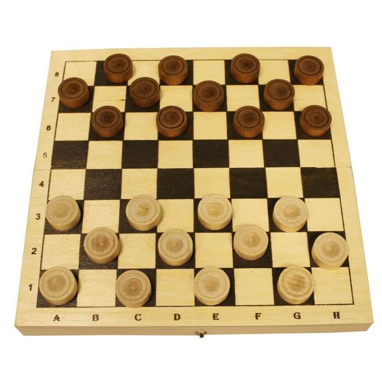 Настольная Шашки деревянные с доской 230*115*45