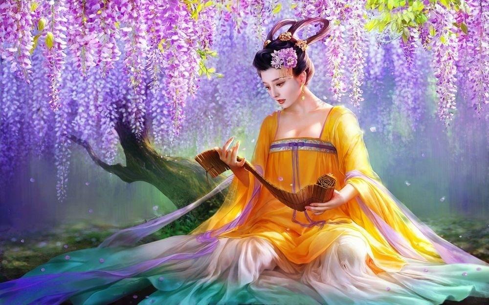 Картина по номерам 40*50 Девушка у цветущего дерева