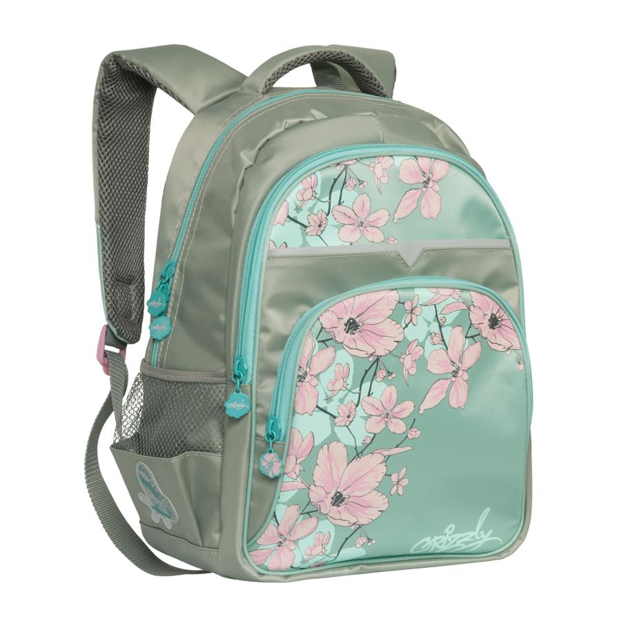 Рюкзак Grizzly полуортопедический Цветы серо-голубой