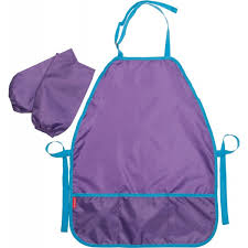Фартук для труда EK фиолетовый с нарукавниками рубашечный