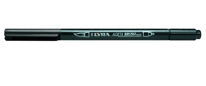Фломастеры акварельные 1цв Lyra Aqua Brush Duo двойные Черный медиум