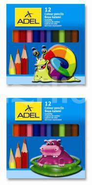 Карандаши цветные 12 цв Adel Colour короткие