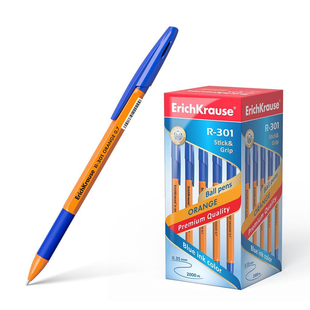 Ручка шариковая синяя EK R-301 Grip оранж. корпус 0.7ММ