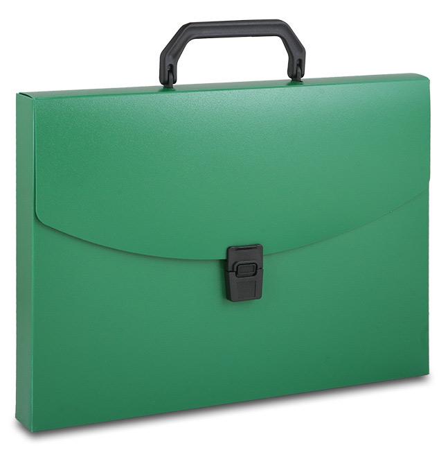 Портфель с ручкой пластиковый зеленый
