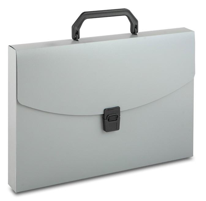 Портфель с ручкой пластиковый серый