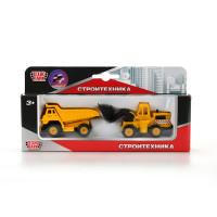 Набор Стройтехники Карьерный самосвал 7,5см + трактор на прицепе 7,5см.