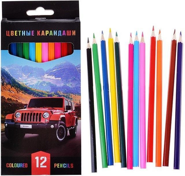 Карандаши цветные 12 цв Джипы