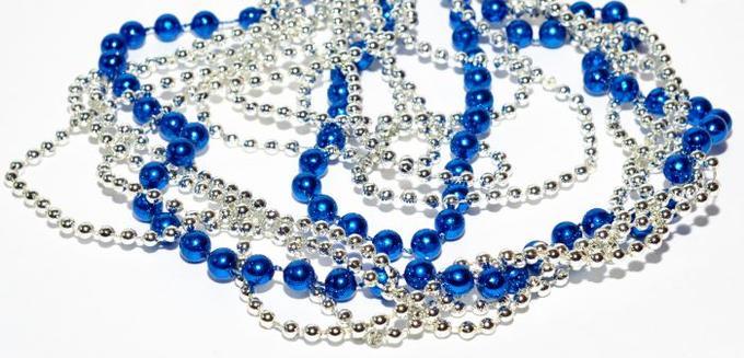 НГ Гирлянда Бусы 180см синий + серебро