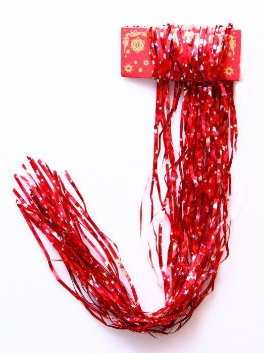 НГ Дождик новогодний 9*150см красный со звездами серебро
