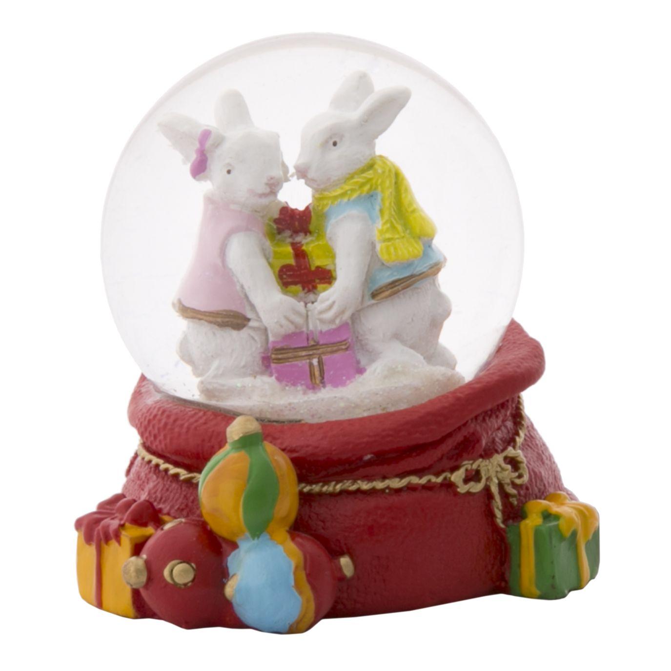НГ Сувенир Снежный шар Зайчики с подарками