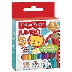 Карандаши цветные 8 цв Fisher Price Mini Jumbo короткие львенок