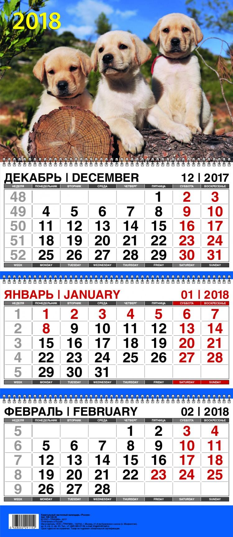 Календарь квартальный 2018 01-17008 Символ года