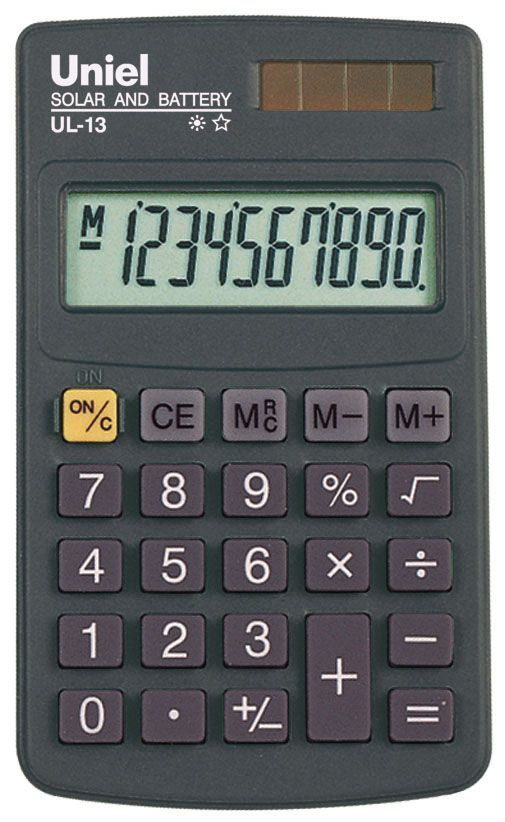 Калькулятор 8 разр. Uniel карманный темно-синий