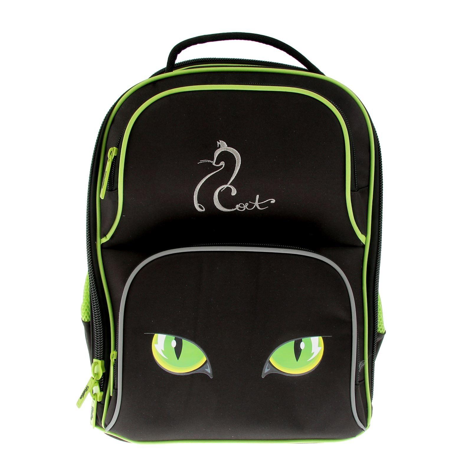 Ранец Hatber Cat черный-салатовый