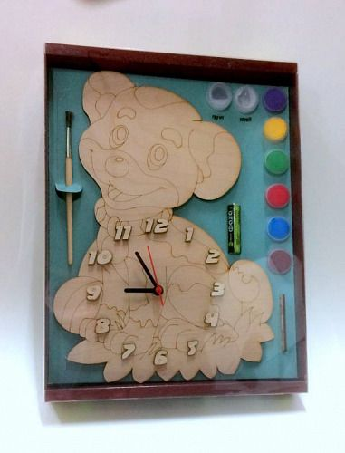 Заготовка дерево Часы с циферблатом Собачка с красками