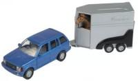 Машина Джип 4х4 с прицепом для лошади и лошадью