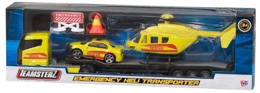 Набор Перевозчик с машиной и вертолетом 1:64