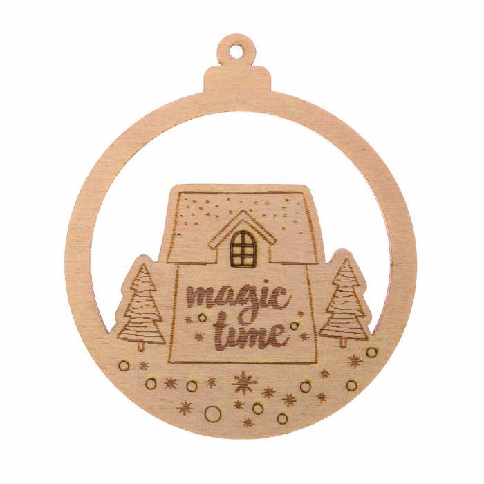 Декор Подвеска из дерева НГ Magic time 10х10 см