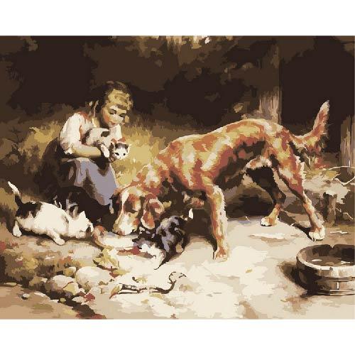 Творч Живопись по номерам акрил Сонет 40х50 Девушка с животными