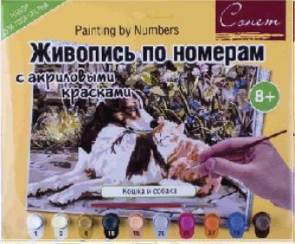 Живопись по номерам акрил Сонет 30х40 Кошка и собака