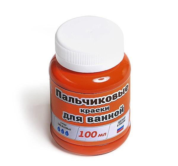 Краски пальчиковые 100 мл оранжевый (для ванной)