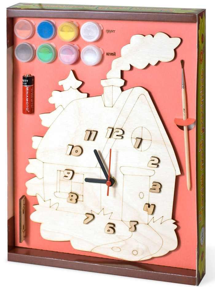 Заготовка дерево Часы с циферблатом Домик с красками