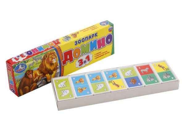 Игра Домино Зоопарк 3-в-1