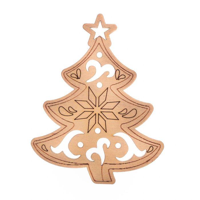 Декор Подвеска из дерева НГ Елочка резная 10х10 см