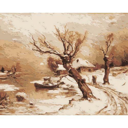 Творч Живопись по номерам акрил Сонет 40х50 Деревня в снегу