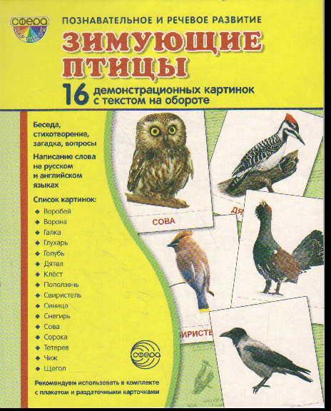 Зимующие птицы: 16 демонстрационных картинок с текстом на обороте