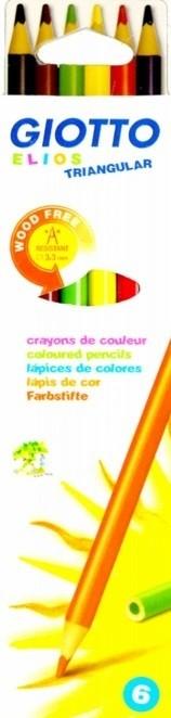Карандаши цветные 6 цв Giotto Elios Tri пластиковые