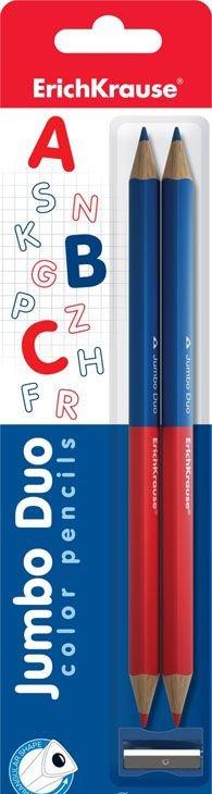 Карандаши школьные 2 шт EK двухцветные син-крас трехгран + точилка