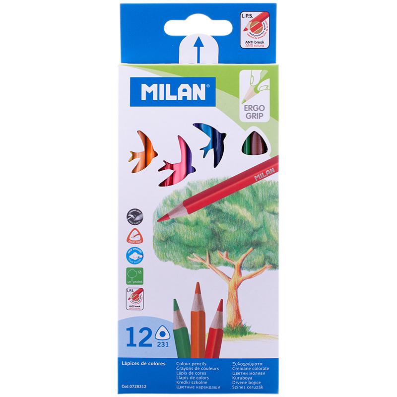 Карандаши цветные 12 цв Milan 231 трехгранные