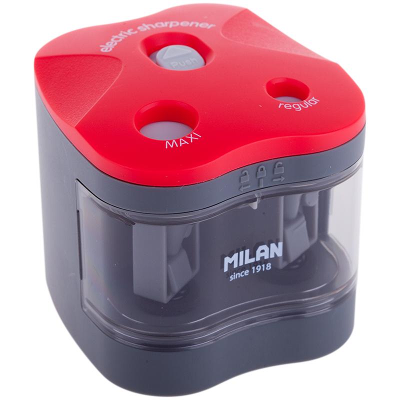 Точилка электрическая 2отв Milan контейнер + батарейки