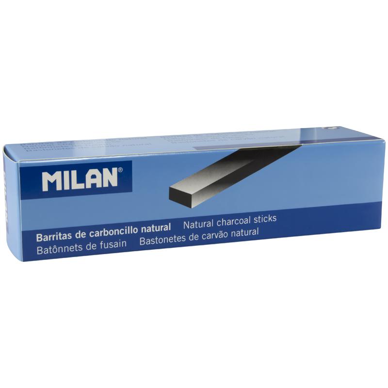 Карандаши угольные натуральные 6шт Milan 4-15мм прямоугольные
