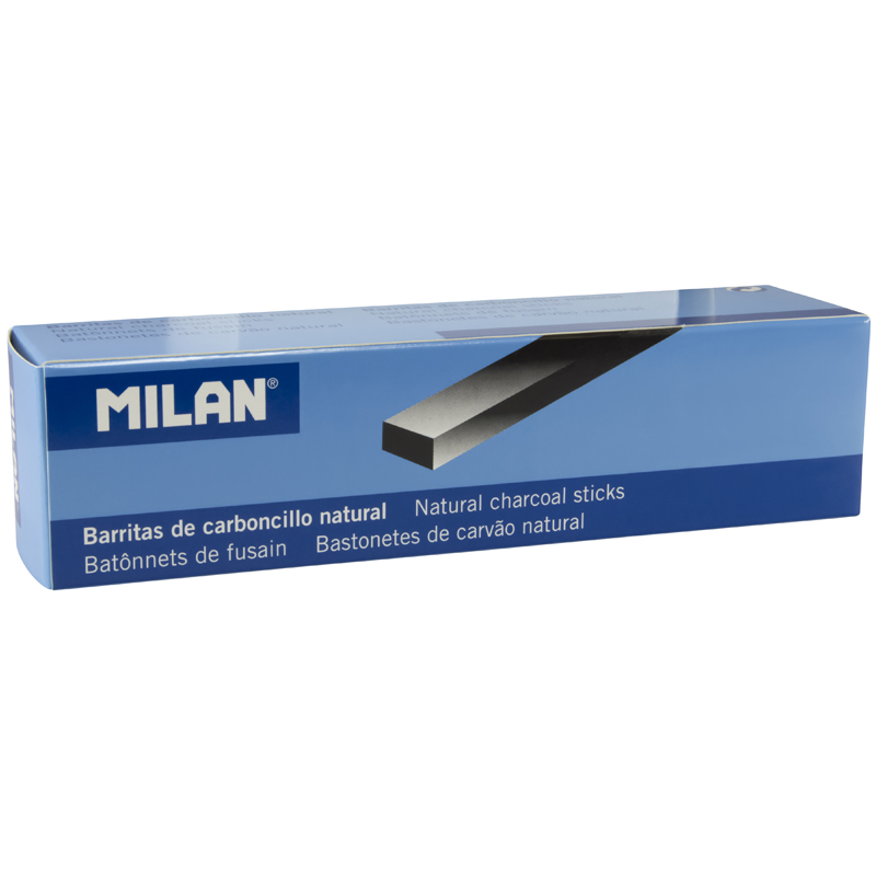 Карандаши угольные натуральные 4шт Milan 7-15мм прямоугольные