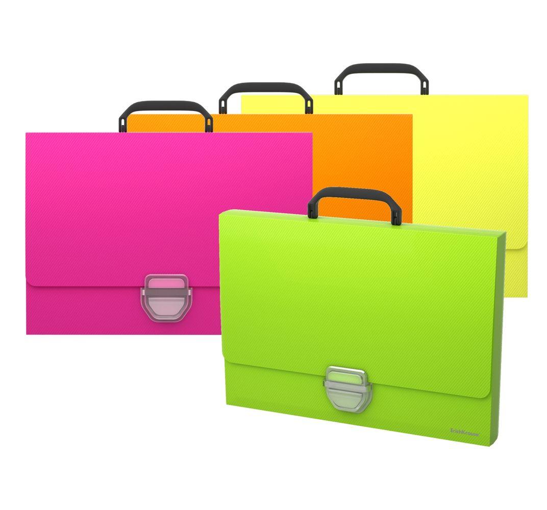 Портфель с ручкой 1отд EK Glance Neon пластиковый на кнопке ассорти