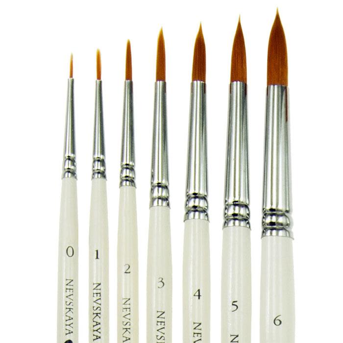 Кисть синтетика № 3 круглая, длинная ручка (3 мм)