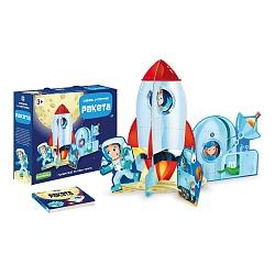 Пазл 12 3D + книга Ракета
