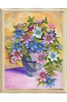 Творч Мозаика из пайеток на холсте 30*40 Клематисы