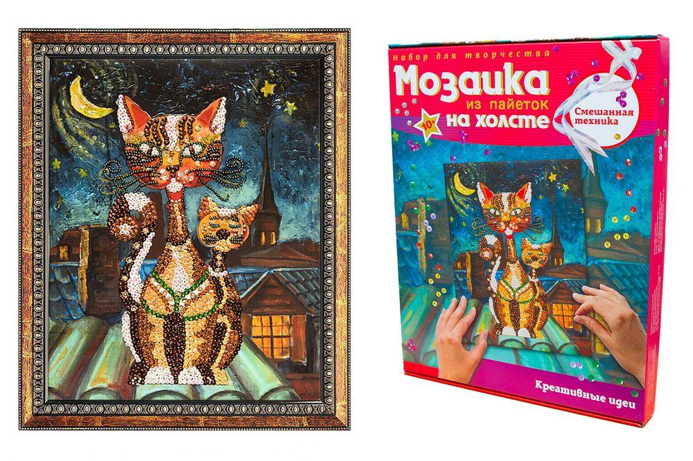Творч Мозаика из пайеток на холсте 30*40 Коты