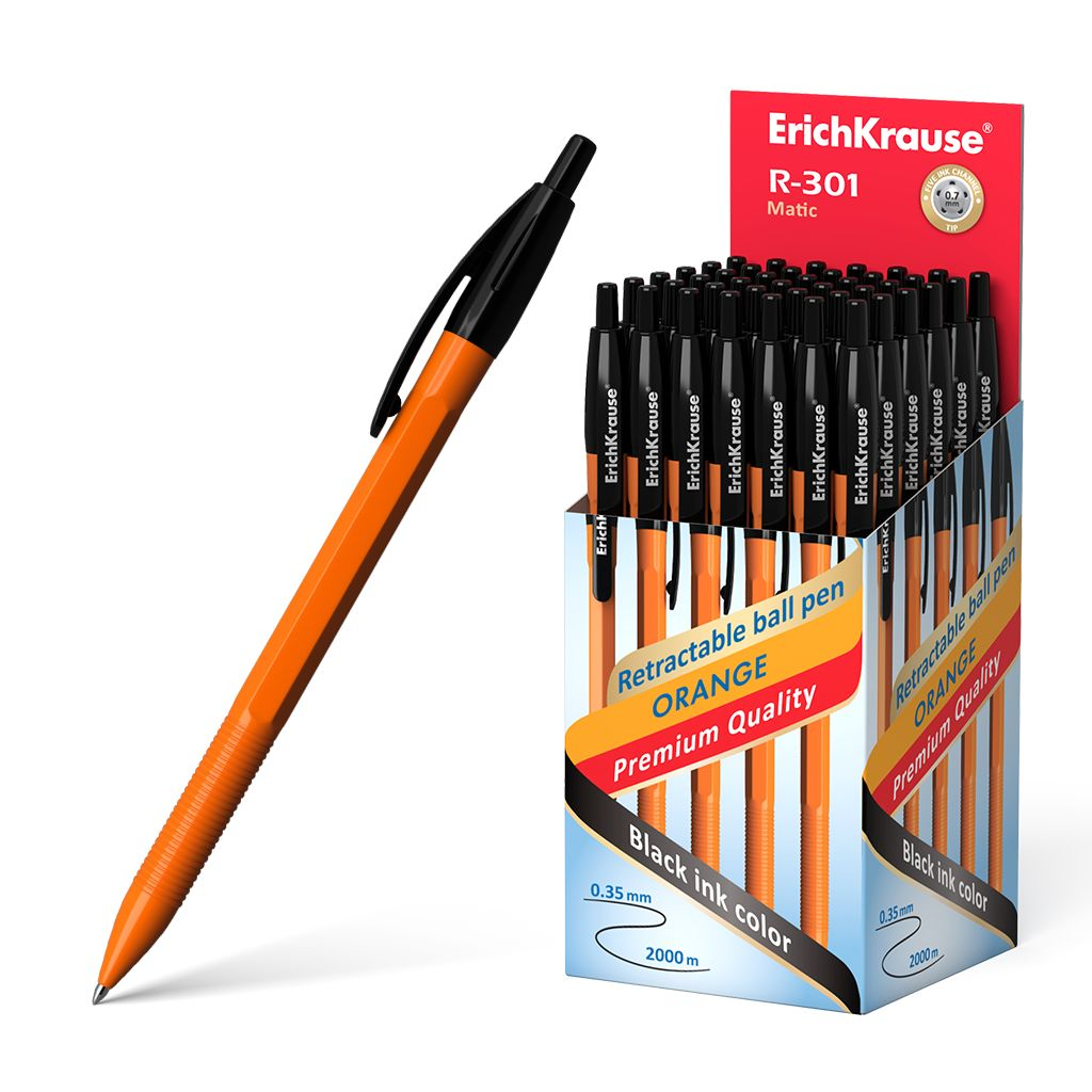 Ручка шариковая черная EK R-301 Matic автомат оранж корпус 0.7мм