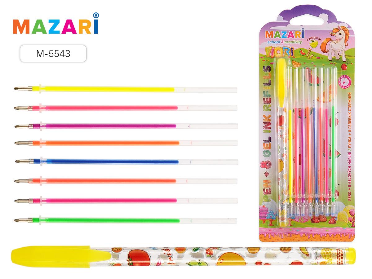 Ручка гелевая Mazari FIORI + 8 цветных стержней флюоресцент ароматизир