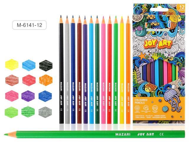 Карандаши цветные 12 цв Mazari Joy Art к/к пластиковые