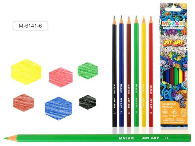 Карандаши цветные 6 цв Mazari Joy Art к/к