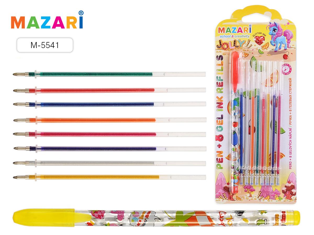 Ручка гелевая Mazari JOLLY + 8 цветных стержней глиттер ароматизиров